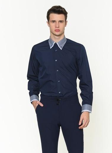Dewberry Slim Fit Uzun Kollu Gömlek Lacivert